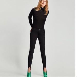 NWT Zara High Waist Black Fuseau Stirrup Pants